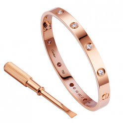 copia cartier love bracciale oro rosa 10 diamanti
