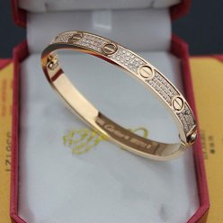 copia cartier love bracciale oro rosa con diamanti