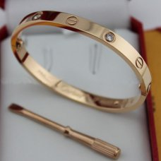 Kopie cartier love bracciale gold rosa con 4 diamanti