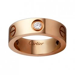 cartier love rosa Gold Ring Kopie mit drei Diamanten