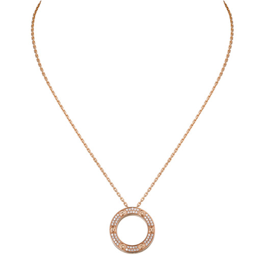 Kopie cartier love Halskette rosa Gold mit Diamanten