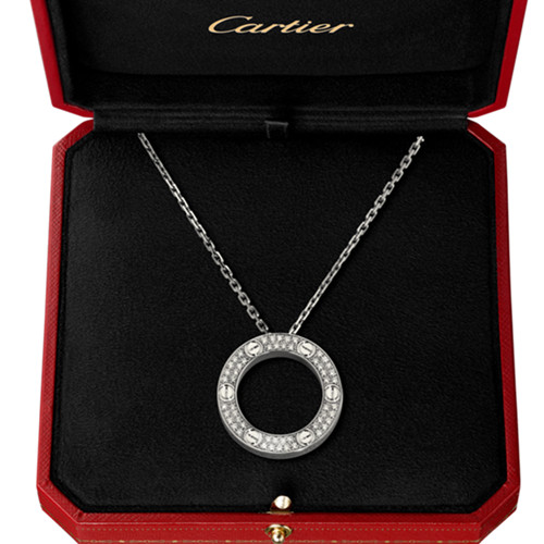 Replik cartier love Halskette Weißgold mit Diamanten