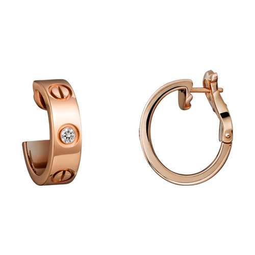 cartier love rosa Gold Ohrring Kopie mit zwei Diamanten B8301218