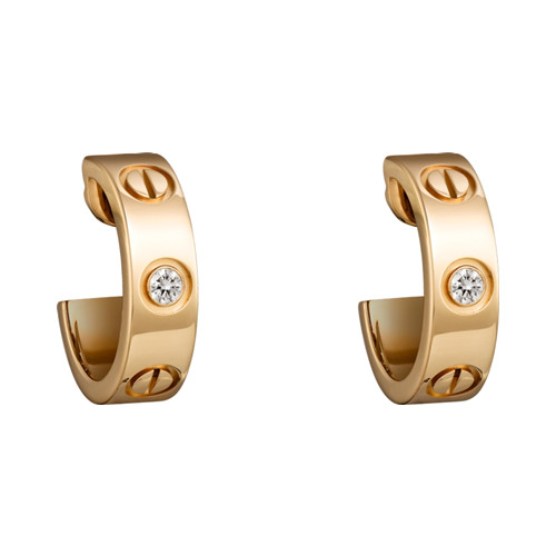 Replik cartier love Ohrring Gelbgold mit zwei Diamanten B8022900