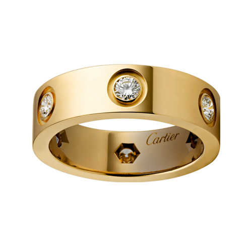 cartier love Ring Replik Gelbgold 6 Diamanten
