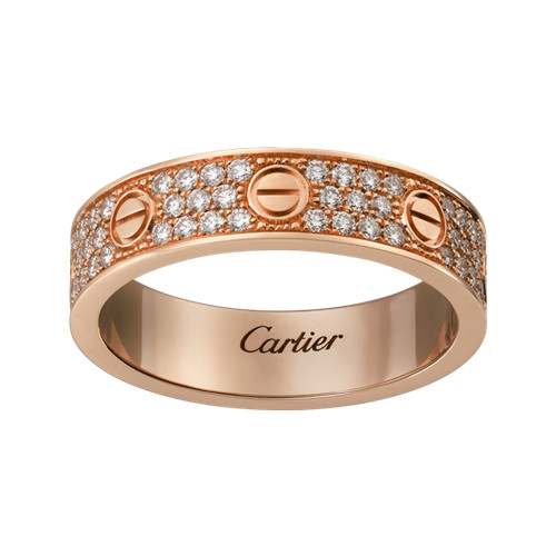 Kopie cartier love Ring rosa Gold überdachten Diamanten
