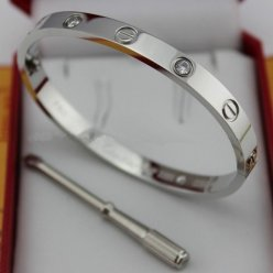 faux bracelet cartier love or blanc avec 4 diamants