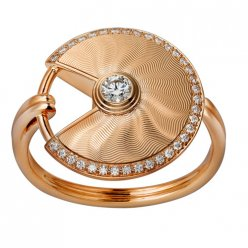 amulette de cartier bague faux diamant en or rose B4217200