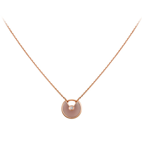 collier amulette de cartier réplique en or rose pendentif en diamant