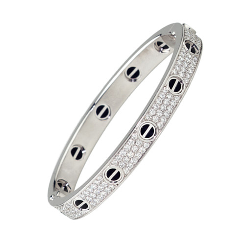 faux bracelet cartier love or blanc aux diamants