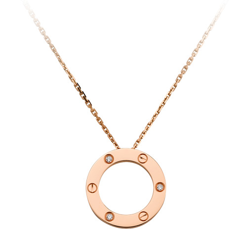 copie collier love cartier rose or avec pendentif 3 diamants