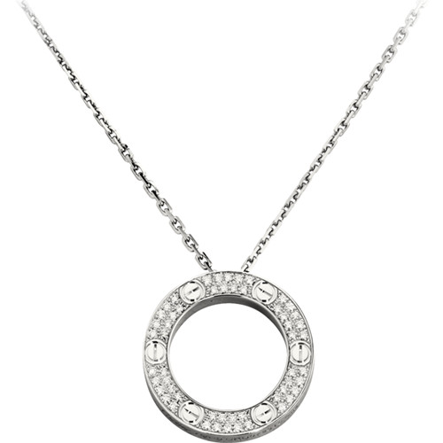 réplique cartier love Collier or blanc avec diamants