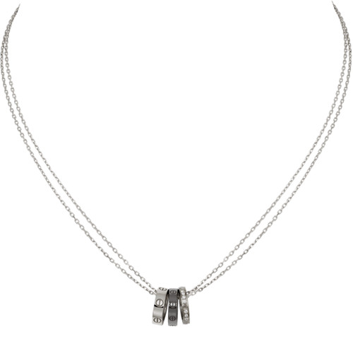 réplique de collier love Cartier pendentif en or blanc 18 diamants
