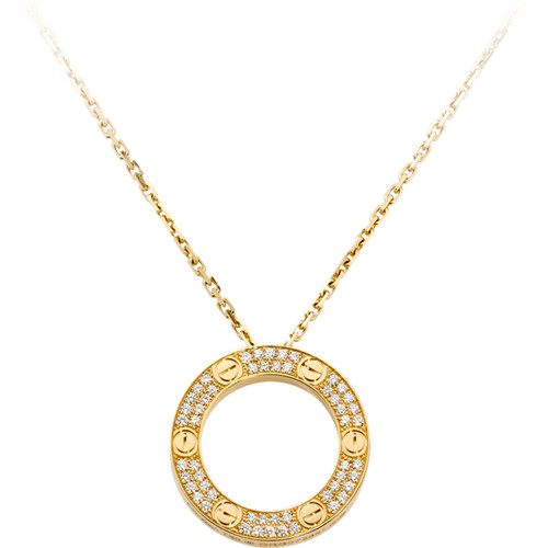 faux collier love Cartier or jaune aux diamants