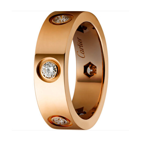 copie cartier love bague rose Or 6 diamants