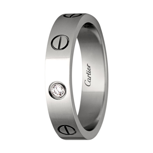 faux cartier love bague en or blanc avec diamant