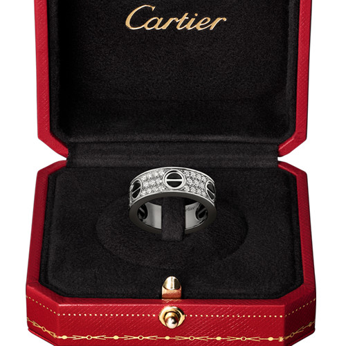 faux cartier bague love or blanc avec des diamants