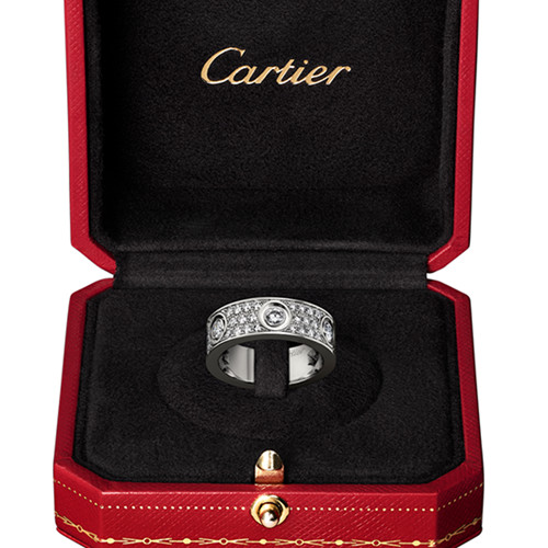faux bague love Cartier diamants coupés en or blanc