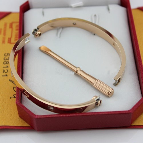 copia cartier love bracciale oro rosa con 4 diamanti