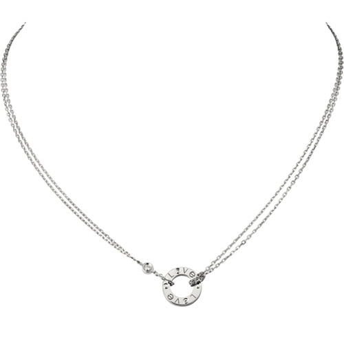 replica cartier love collana oro bianco con 2 Diamonds