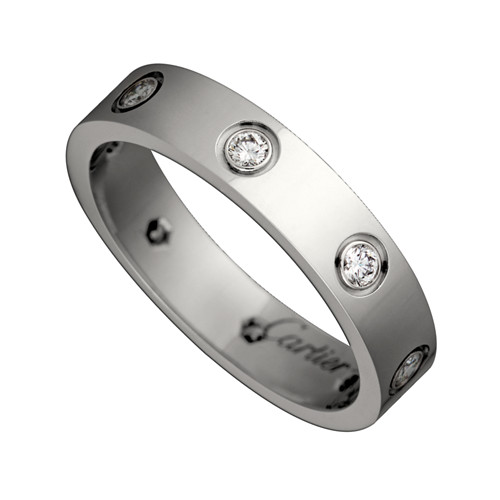 falso cartier love anello in oro bianco diamanti