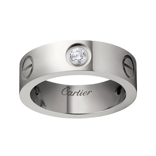 cartier love anello oro bianco falso diamanti