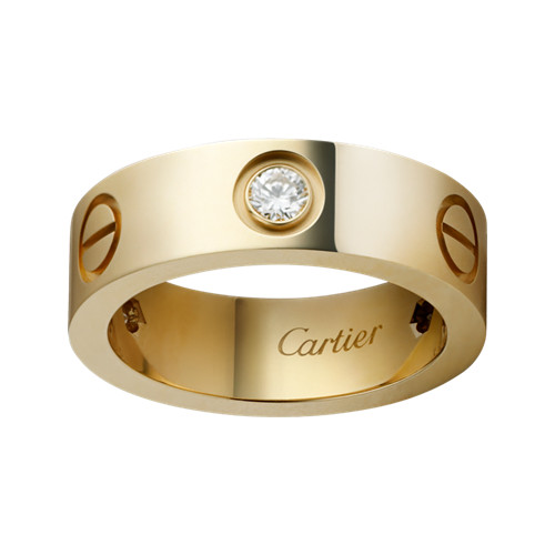 cartier love anello replica oro giallo con tre diamanti